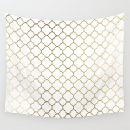 Elegant stylish white faux gold quatrefoil Wall Tapestry