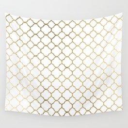 Elegant stylish white faux gold quatrefoil Wall Tapestry