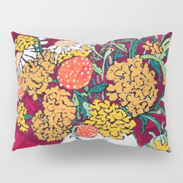 Marigold, Daisy and Wildflower Bouquet Fall Floral Still Life Painting on Eggplant Purple Pillow Sham