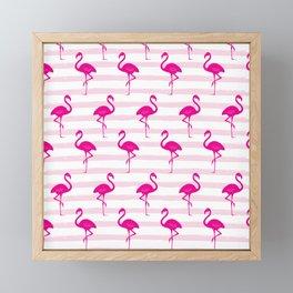 Flamingo & Stripes Pattern - Pink / Pink Framed Mini Art Print