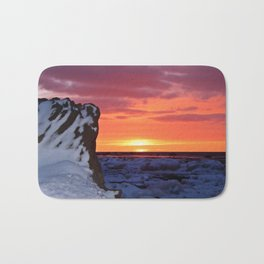 Golden Sunset on Sea and  Snow Bath Mat