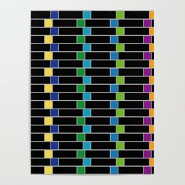Colorful squares composition on black- multicolor gifts Poster