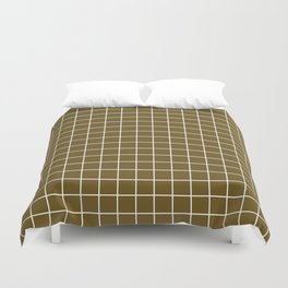 Field drab - brown color - White Lines Grid Pattern Duvet Cover