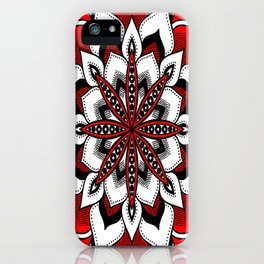 Mandala : Red Flower Mandala iPhone Case