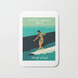 Surf Narragansett Beach, Rhode Island Vintage Surfing Big Swell Poster - New England Surfers Bath Mat