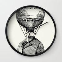 balloon Wall Clocks featuring Balloon by Ilya kutoboy