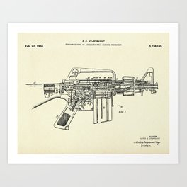 Firearm Having an Auxiliary Bolt Closure Mechanism-1966 Art Print