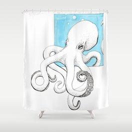 Inktober Octopus Shower Curtain