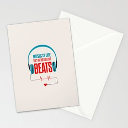 Lab No. 4 - Music Is Life.. That's Why Our Hearts Have Beats Motivational Quotes Poster Stationery Cards