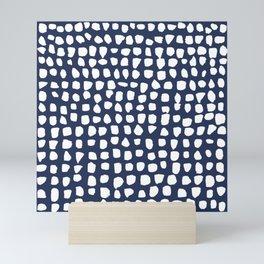 Dots / Navy Mini Art Print