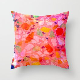 Sea Glass Abstract Pattern in Pink Throw Pillow