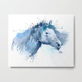 Watercolor Horse Portrait Abstract Paint Splatter Metal Print