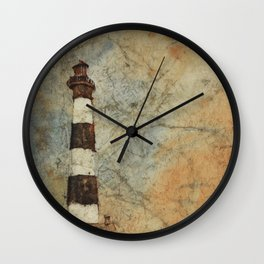 Fine art watercolor painting of Bodie Island lighthouse at sunset in the Outer Banks (OBX) Wall Clock