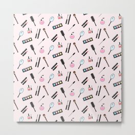 Makeup tools colorful pattern Metal Print