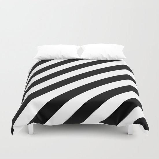 Diagonal Stripes (Black/White) Duvet Cover