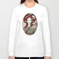 postcard Long Sleeve T-shirts featuring Japanese Postcard by Little faba