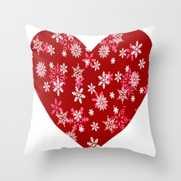Red Heart Of Snowflakes Loving Winter and Snow Throw Pillow