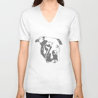 pitbull V-neck T-shirts featuring COACH - GREY by Kirk Scott