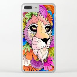 Flower Lion Clear iPhone Case