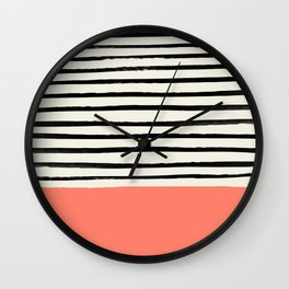 Coral x Stripes Wall Clock