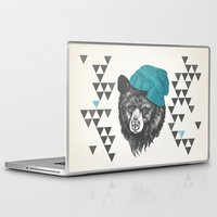 zissou Laptop & iPad Skins featuring Zissou the bear in blue by Laura Graves