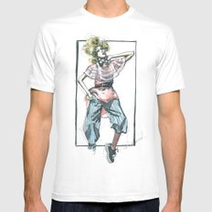 Bow Tie White Mens Fitted Tee MEDIUM