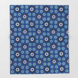 -A19- Alhambra Traditional Blue Moroccan Artwork. Throw Blanket