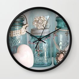 Vintage Mason Jars Shabby Chic Cottage Jeweled Decor Wall Clock