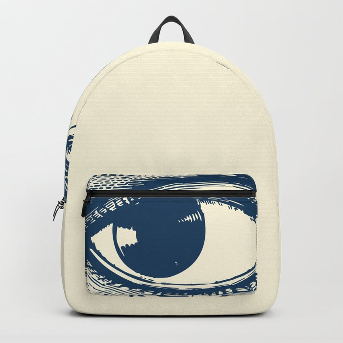 I see you. Navy Blue on Cream Backpack