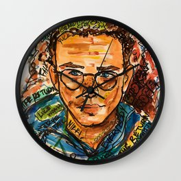 rapper,colourful,colorful,poster,wall art,fan art,music,hiphop,rap,logicc,lyric Wall Clock