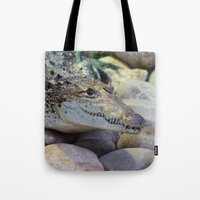 crocodile Tote Bags featuring Crocodile by PICSL8