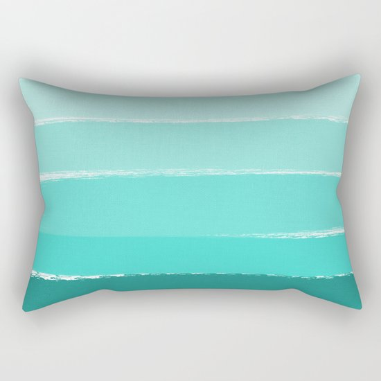 Ombre brushstrokes modern minimal ocean abstract painting wall art Rectangular Pillow