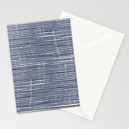 Abstract Stripes Pattern, Indigo, Navy Blue Stationery Cards