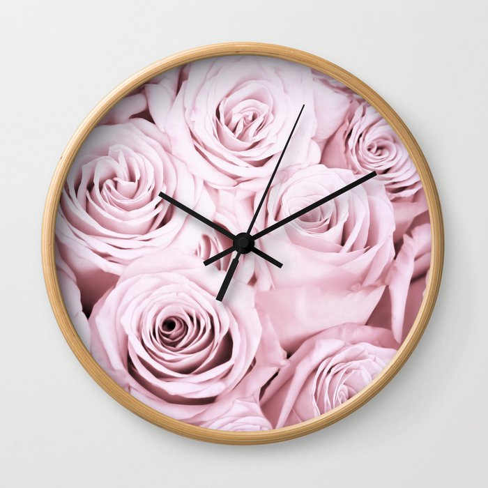 Pink Roses Flowers - Rose and flower pattern Wall Clock