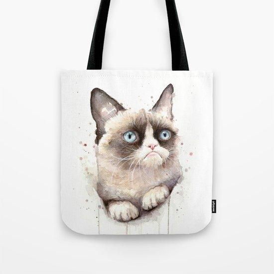 Grumpy Watercolor Cat Animals Meme Geek Art Tote Bag