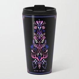 La Vie & La Mort – Pink & Periwinkle on Black Travel Mug