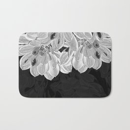 Elegant Black and White Flowers Design Bath Mat
