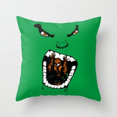 Hungry Hungry Hulk // Teal Throw Pillow