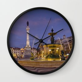 Rossio square at dusk Wall Clock