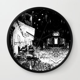 Cafe Terrace at Night By Vincent Van Gogh in Black and White Wall Clock