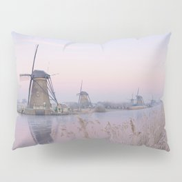 Pastel sunrise over windmills in winter in the Netherlands Pillow Sham