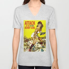 Attack of the 50 Foot Derby Girl Unisex V-Neck