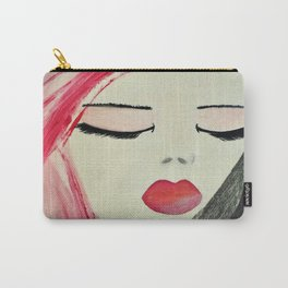 Shy Girl. Abstract Pink Girl. Pink Lips. Pink Hair. Jodilynpaintings. Eyelashes. Gift for All Girls. Carry-All Pouch