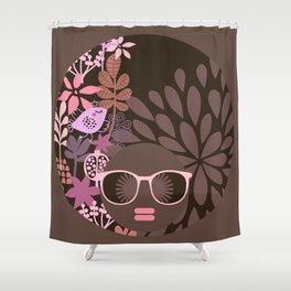 Afro Diva Sophisticated Lady Pink Taupe Lavender Shower Curtain