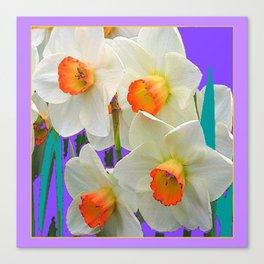 WHITE-GOLD NARCISSUS FLOWERS LAVENDER GARDEN Canvas Print