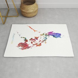 Philippines Watercolor Map Art by Zouzounio Art Rug