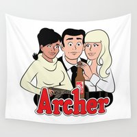 archer Wall Tapestries featuring Archer Comics by Jessica Sinclair