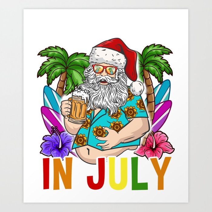 Christmas In July Clipart.Christmas In July Hawaiian Products For Family Summer Vacation Print Art Print By Binutz