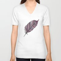feather V-neck T-shirts featuring FEATHER by Monika Strigel