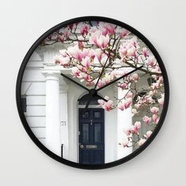 House and pink tree Wall Clock